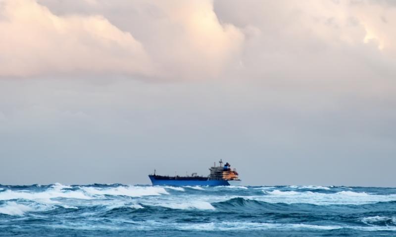 cargo ship in choppy waters